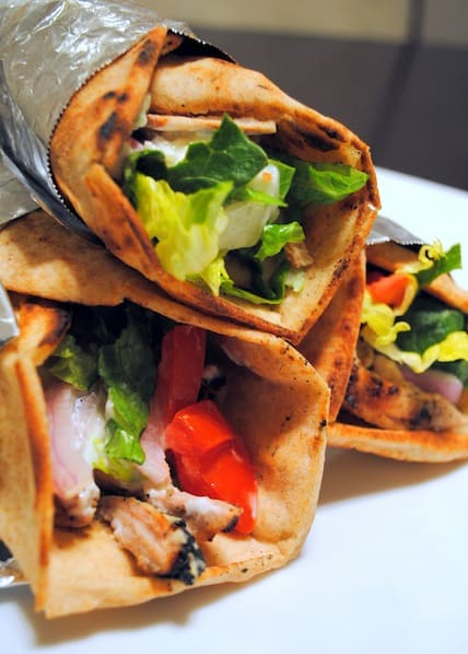 Grilled Chicken Shawarma - make your favorite Mediterranean restaurant sandwich at home (it's healthier, too!) | foxeslovelemons.com