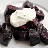 Roasted Beets with Chevre-Yogurt Sauce - An easy but elegant starter or side dish.