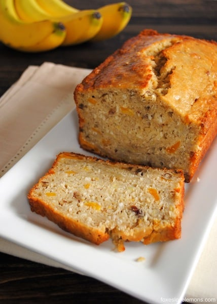 Tropical Mango Banana Bourbon Bread - a taste of Hawaii in a slice of bread! | foxeslovelemons.com
