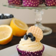 Blueberry Cupcakes with Lemon Cream Cheese Frosting - Lemon-flecked Greek yogurt blueberry cupcakes with lemon cream cheese frosting.