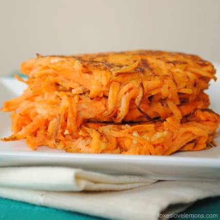 Maple Sweet Potato Cakes with Curried Greek Yogurt - a savory-sweet side dish for breakfast, brunch or dinner! | foxeslovelemons.com