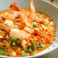 Spicy Coconut Risotto with Lime Shrimp - If you love Pad Thai, you'll love this risotto!