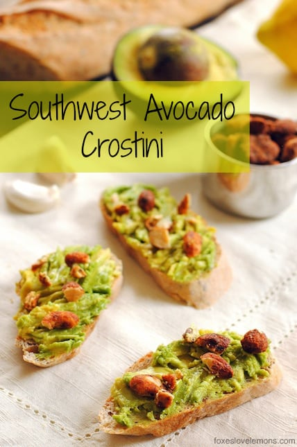 Southwest Avocado Crostini - A tasty 5-minute appetizer! | foxeslovelemons.com