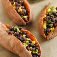 Black Bean & Corn Stuffed Sweet Potatoes – A filling, wholesome, simple vegetarian lunch idea with a zesty flavor!