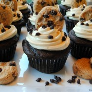 Chocolate Chip Cookie Dough Cupcakes – A hidden chunk of dense, gooey cookie dough in the middle of each light, fluffy chocolate cupcake.