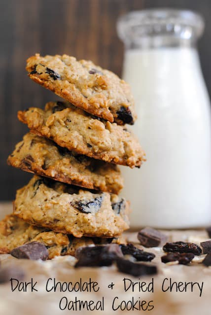 ... and Dried Cherry Oatmeal Cookies – a chunky oatmeal cookie