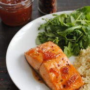 Roasted Salmon with Spicy Apricot Glaze – a healthy meal that comes together in THREE MINUTES, plus roasting.