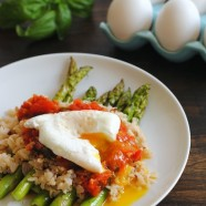 Wild Rice with Asparagus, Fresh Tomato Sauce & Poached Egg – a beautiful, filling vegetarian meal.