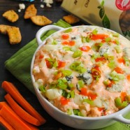 Lightened-Up Buffalo Chicken Dip - a full flavor but lower-fat version of the tailgate classic!