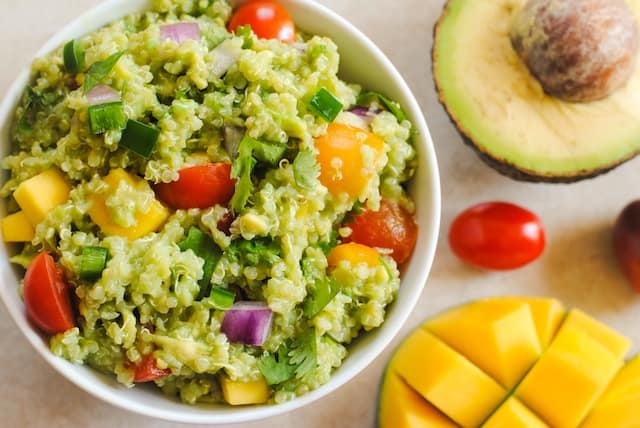 Guacamole Quinoa with Mango - all of the ingredients of guacamole, combined with qui