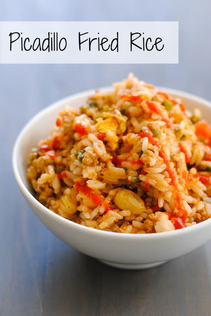 Picadillo Fried Rice - a quick Cuban-inspired stir-fry using leftover picadillo and r