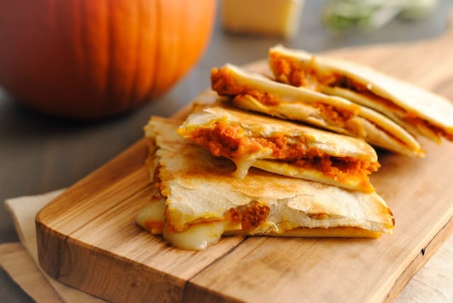 Pumpkin-Brie Quesadillas - a melty, cheesy fall treat! | foxeslovelemons.com