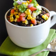 Black Bean Soup with Corn-Avocado Relish | foxeslovelemons.com