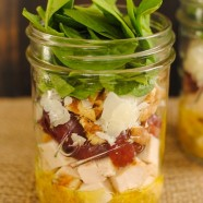 Chicken & Spinach Salad Jars - healthy and portable lunches for the work week! Lean chicken, sweet grapes, Asiago cheese, crunchy walnuts and spinach, dressed with Mustard-Thyme Vinaigrette.