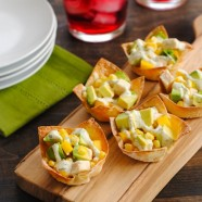 Chicken, Mango & Avocado Wonton Cups