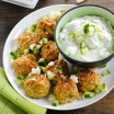 Greek Chicken Meatballs with Herbed Yogurt Sauce - a light and healthy dinner, or a party bite that can be kept warm in a slow cooker! | foxeslovelemons.com
