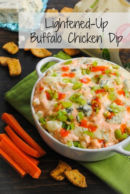 Lightened-Up Buffalo Chicken Dip - a full flavor but lower-fat version of the party classic! | foxeslovelemons.com