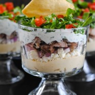 Chicken Shawarma Seven Layer Dip - A crowd-pleasing Middle Eastern-inspired layered dip!