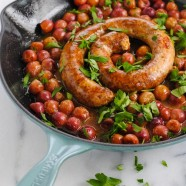 Roasted Chorizo, Grapes, Rice & Lentil Skillet Dinner - A five ingredient meal for a Spanish-inspired date night at home!