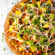 Thai Tofu Pizza with Spicy Peanut Sauce - A Pad Thai-inspired pizza! A colorful and healthy vegetarian meal. | foxeslovelemons.com