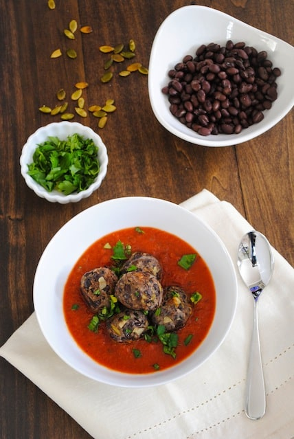 "Black Bean ""Meatballs"" with Marinara - A meatless meal that's a crowd pleaser! 
