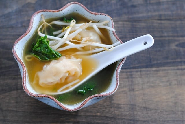 Shrimp Wonton Soup with Kale - Fold your own wontons at home. It's fun, and way easier than you would think! | foxeslovelemons.com