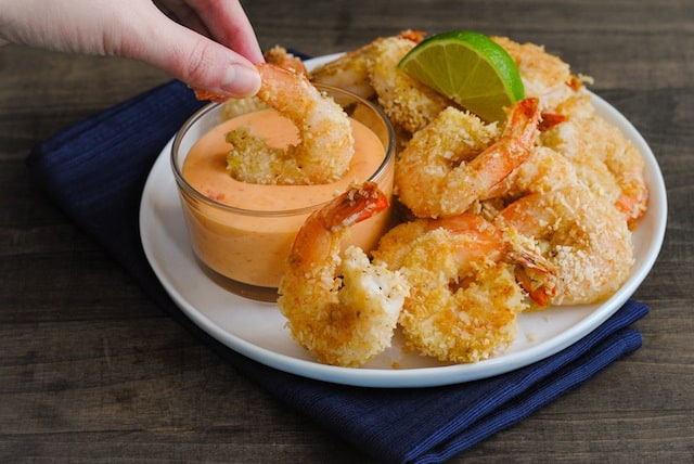 Baked Coconut Shrimp with Creamy Sweet Chili Sauce - Foxes Love Lemons