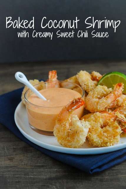 Baked Coconut Shrimp with Creamy Sweet Chili Sauce - A light and delicious restaurant-quality meal or appetizer that comes together in just minutes! | foxeslovelemons.com