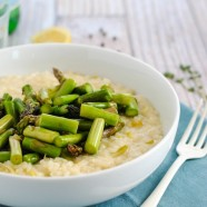 Goat Cheese Risotto with Asparagus - A restaurant-quality dish YOU can make at home. Creamy leek and goat cheese risotto topped with sautéed asparagus.