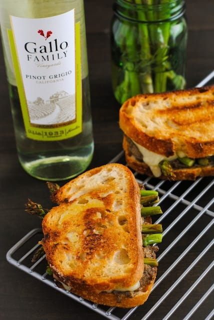 Mushroom & Asparagus Grilled Cheese - Crusty bread filled with a sautéed mushroom mixture, roasted asparagus and Gruyere cheese. | foxeslovelemons.com