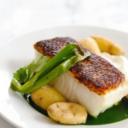 Seared Chilean Sea Bass with Potatoes & Herb Sauce - Make a beautiful, healthy restaurant-quality dish at home in 17 minutes. | foxeslovelemons.com