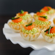 Smoked Salmon & Avocado Mousse Phyllo Cups - A tiny party bite that is full of flavor, perfect for any occasion.