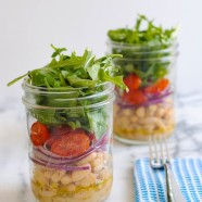 White Bean Salad Jars - A light and fresh lunch to get you through the work week. Layers of marinated cannellini beans, grape tomatoes, red onion and peppery arugula.