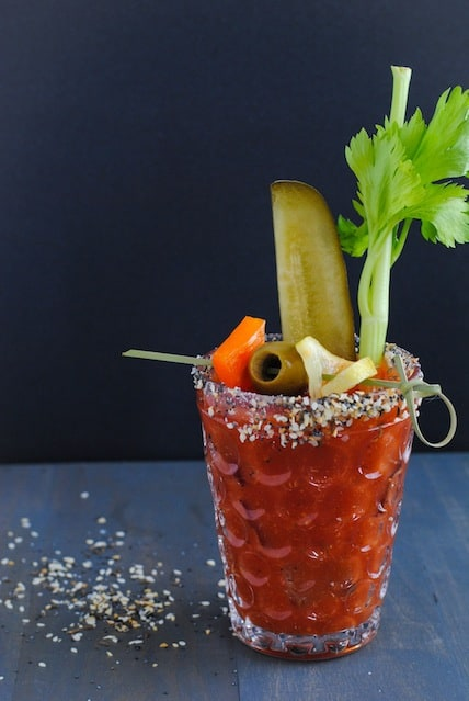 Bloody Mary with Everything Bagel Rim - A homemade version of the classic brunch cocktail, rimmed with everything bagel seasoning mix! | foxeslovelemons.com