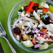 Chicken Gyro Salad with Yogurt Dressing - Just like a classic chicken gyro, but in salad form! The perfect healthy lunch to pack for a busy week. | foxeslovelemons.com
