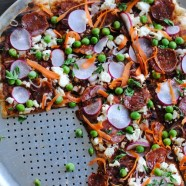 Spring Pea & Radish Pizza - Celebrate spring's best fresh produce with this grilled pizza! | foxeslovelemons.com