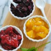 Homemade Fruity Ice Cream Toppings - These come together in just minutes and can be store in the fridge up to a week. Strawberry-Mint, Blackberry-Ginger and Mango-Vanilla. | foxeslovelemons.com