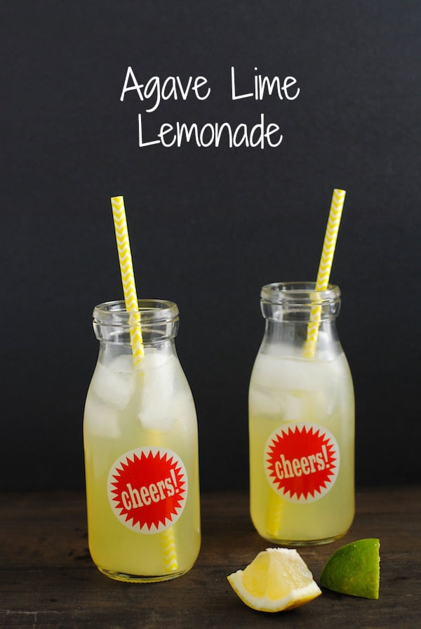 Agave Lime Lemonade - 3 ingredients + water come together in this Mexican-inspired refresher. No added white sugar! | foxeslovelemons.com