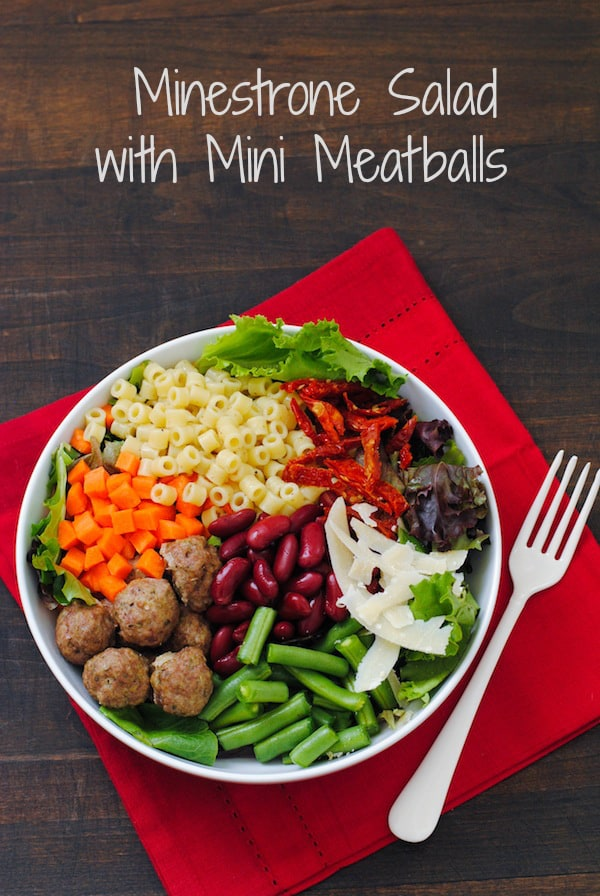 Mini Meatball Minestrone Salad - All the elements of classic minestrone soup, in a colorful and healthful salad! | foxeslovelemons.com