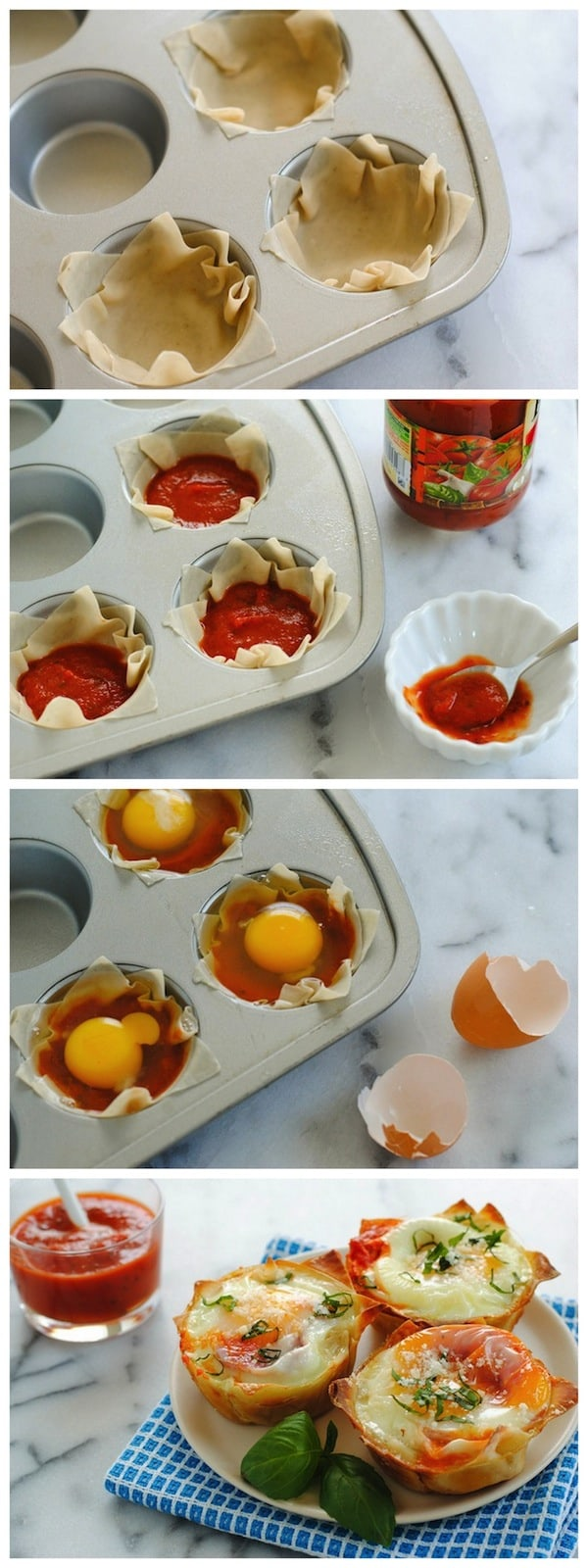 Italian Egg Wonton Cups - A cute, delicious way to serve eggs to a crowd at brunch! Crispy wonton cups filled with marinara sauce and eggs, topped with Parmesan cheese and basil. | foxeslovelemons.com