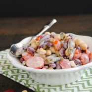 Three Bean Salad with Yogurt-Buttermilk Dressing - A protein packed salad that can be kept in the fridge for lunches throughout the week! | foxeslovelemons.com