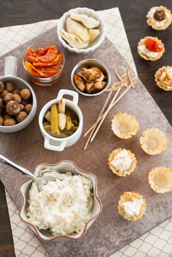 DIY Phyllo Cup Appetizer Bar - A fun spread of party bites that lets your grocery store do ALL the work!   foxeslovelemons.com