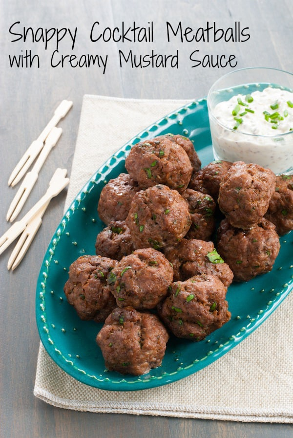 Snappy Cocktail Meatballs with Creamy Mustard Sauce (Gluten-Free) - A party appetizer that everyone can enjoy, and it comes together in just minutes! | foxeslovelemons.com