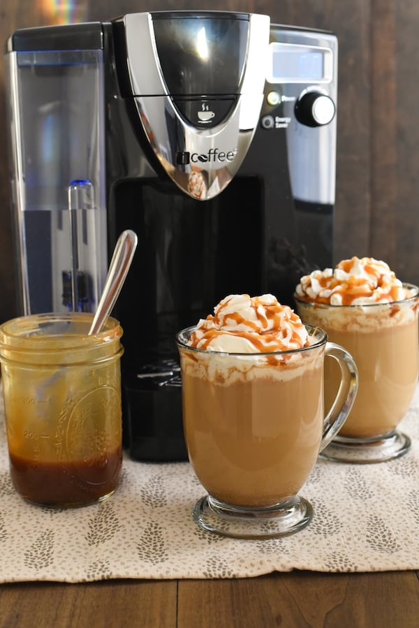 Caramel Brulee Coffee - Make a coffeehouse-style drink at home in just minutes! Coffee, milk, caramel sauce and a touch of brown sugar come together to make a sweet coffee treat! | foxeslovelemons.com