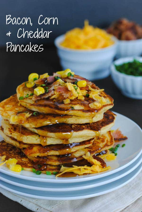 Bacon, Corn & Cheddar Pancakes - A savory treat for breakfast or ...