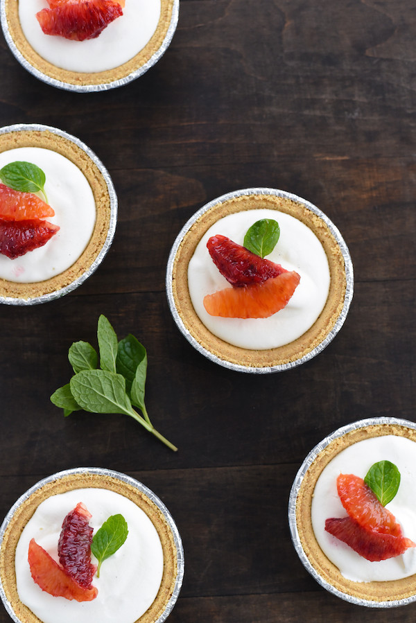 Mini Blood Orange & Frozen Yogurt Tarts - A simple, fast and beautiful dessert that highlights seasonal citrus. | foxeslovelemons.com