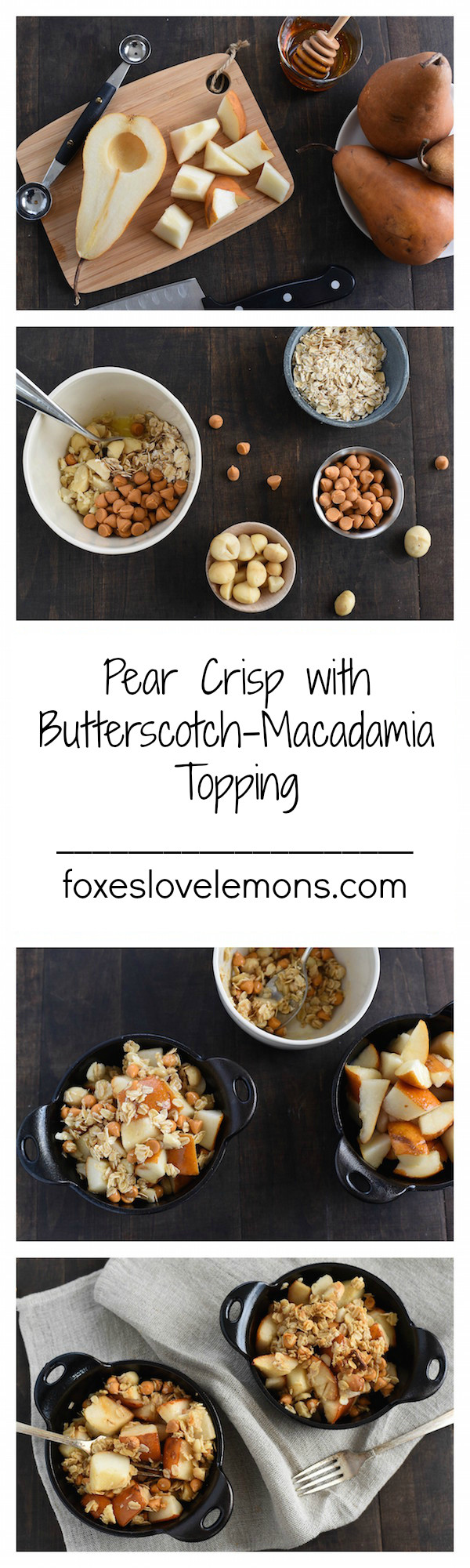 Pear Crisp with Butterscotch-Macadamia Topping - An incredibly simple dessert to have in your back pocket for whenever a sweet tooth strikes!   foxeslovelemons.com