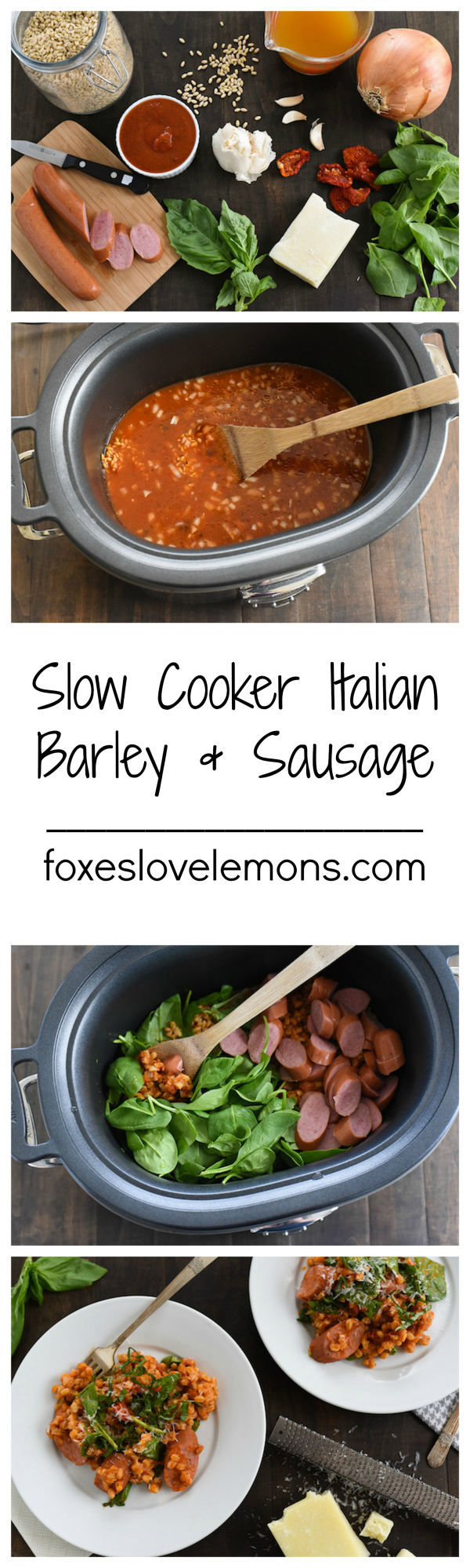 Slow Cooker Italian Barley & Sausage - A healthy, no-fuss meal made with whole grains, lean turkey sausage and spinach! | foxeslovelemons.com